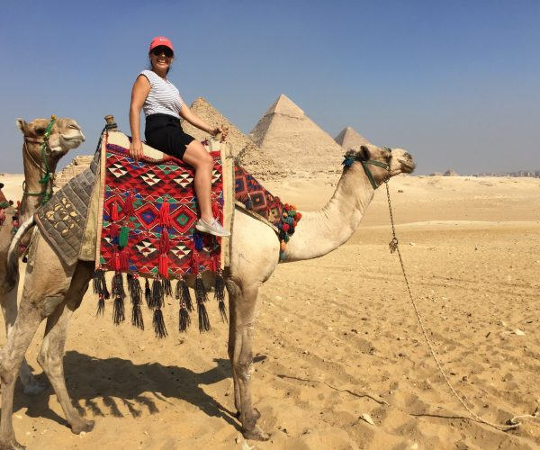 Maria on camel in Cairo